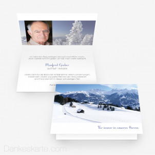 Trauerkarte Schneelandschaft 15 x 10 cm Vertikalklappkarte