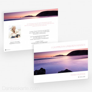 Trauerkarte Sonnenuntergang 21 x 15 cm