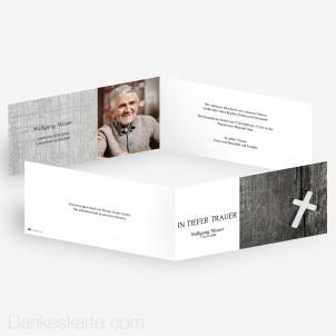 Trauerkarte Weisses Kreuz 21 x 10 cm