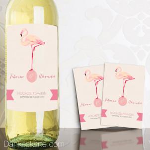 Weinetikett Flamingo 13 x 9 cm