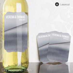 Weinetikett Ornament Glas und Metall 11 x 7.5 cm