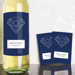 Weinetikett Diamant 13 x 9 cm