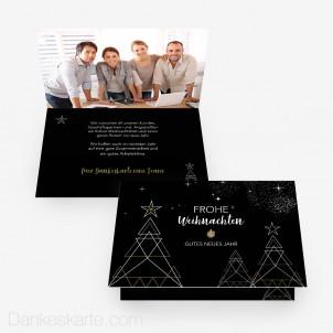 Weihnachtskarte Baumgeometrie 15 x 10 cm Vertikalklappkarte