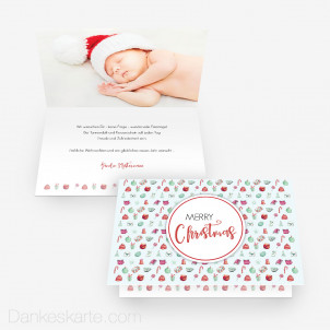 Weihnachtskarte Christmas Time 15 x 10 cm Vertikalklappkarte