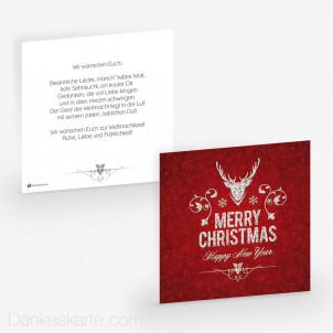 Weihnachtskarte Edler Hirsch Rot 14.5 x 14.5 cm