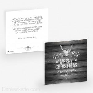 Weihnachtskarte Edler Hirsch Weiss 14.5 x 14.5 cm