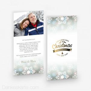 Weihnachtskarte Eiskristalle 10 x 21 cm