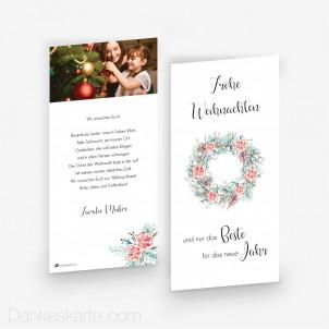Weihnachtskarte Festlicher Kranz 10 x 21 cm