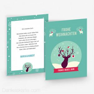 Weihnachtskarte Geschmückter Hirsch 15 x 21 cm