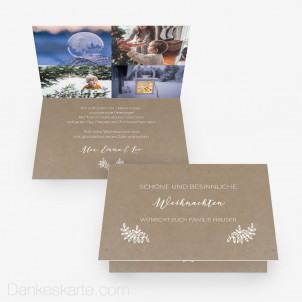 Weihnachtskarte Kraftpapier Eleganz 15 x 10 cm Vertikalklappkarte
