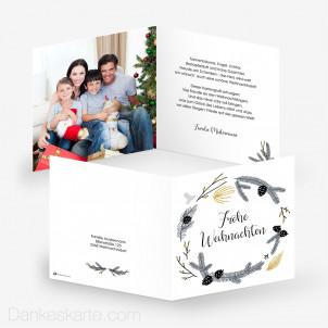 Weihnachtskarte Kranz 14.5 x 14.5 cm