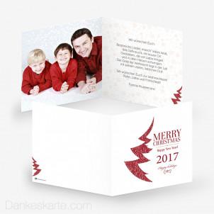 Weihnachtskarte Mesh Tree White 14.5 x 14.5 cm