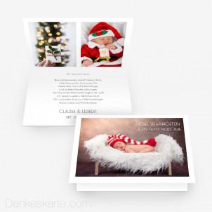 Weihnachtskarte Minimalistisch 15 x 10 cm Vertikalklappkarte