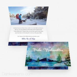 Weihnachtskarte Nordlichter 15 x 10 cm Vertikalklappkarte