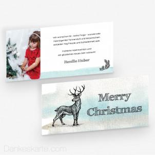 Weihnachtskarte Platzhirsch 21 x 10 cm