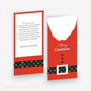 Weihnachtskarte Santas Belt 10 x 21 cm