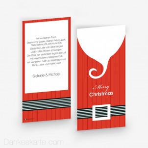 Weihnachtskarte Santas Stripes 10 x 21 cm