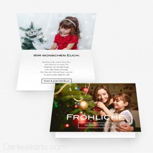 Weihnachtskarte Schlicht Schön 15 x 10 cm Vertikalklappkarte