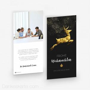 Weihnachtskarte Springender Hirsch 10 x 21 cm