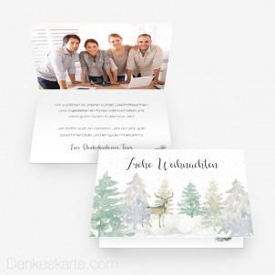 Weihnachtskarte Tannengrün 15 x 10 cm Vertikalklappkarte