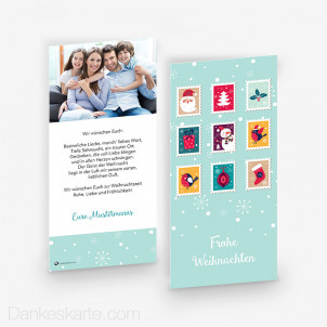 Weihnachtskarte Xmas Stamps Flakes 10 x 21 cm