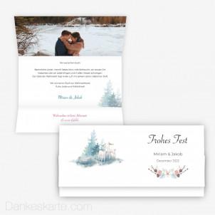 Weihnachtskarte Winterzauber 21.5 x 10.5 cm Wickelfalz