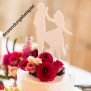 Cake Topper Ring mit Brautpaar - Buchenholz - S