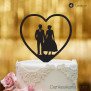 Cake Topper Herz mit Brautpaar - Schwarz - XL