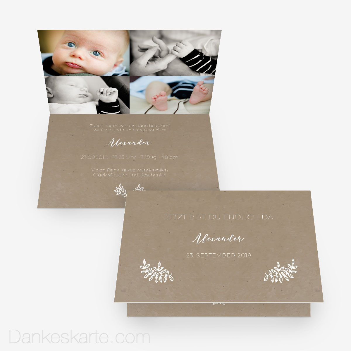 Babykarte kraftpapier eleganz 15 x 10 cm vertikalklappkarte - Vintage geburtskarten ...
