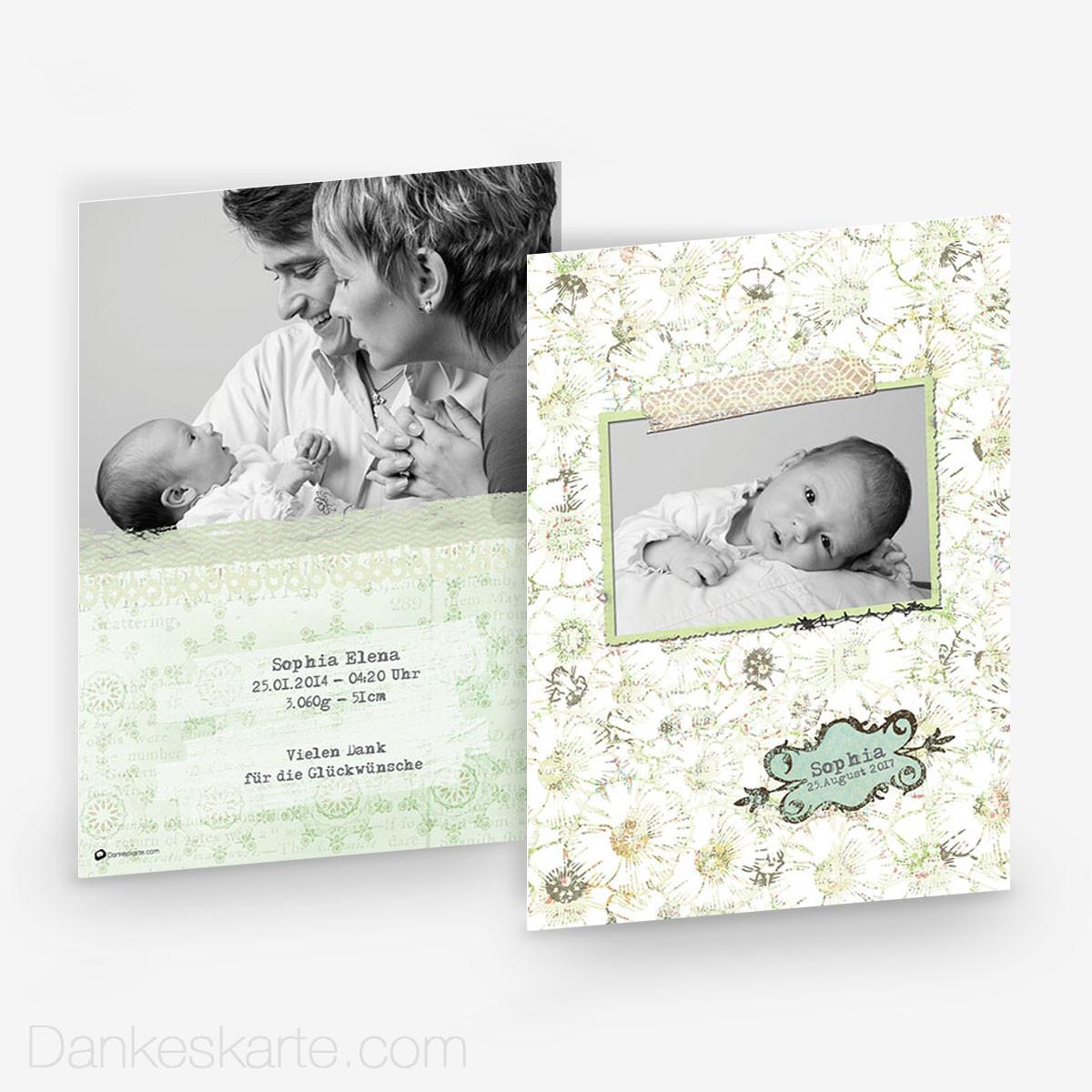 Babykarte vintage flower 15 x 21cm for Vintage geburtskarten