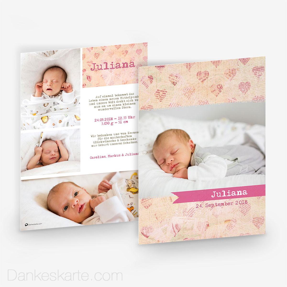 Babykarte vintage heart 15 x 21cm - Vintage geburtskarten ...
