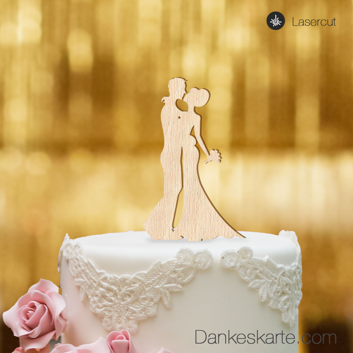 Cake Topper Brautpaar Kuss Buchenholz S Dankeskarte Com