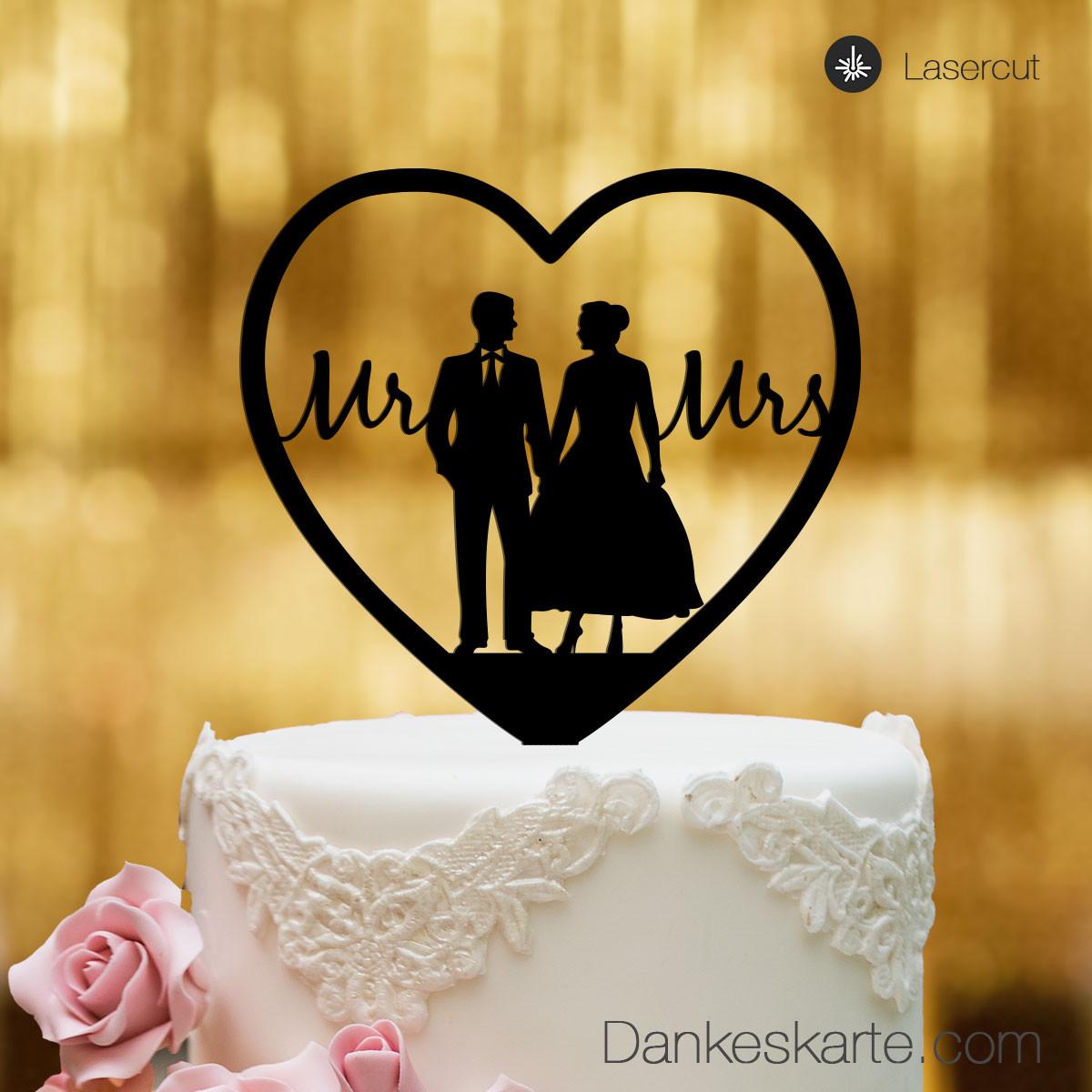 cake topper herz mit brautpaar und mr mrs schriftzug schwarz xl. Black Bedroom Furniture Sets. Home Design Ideas