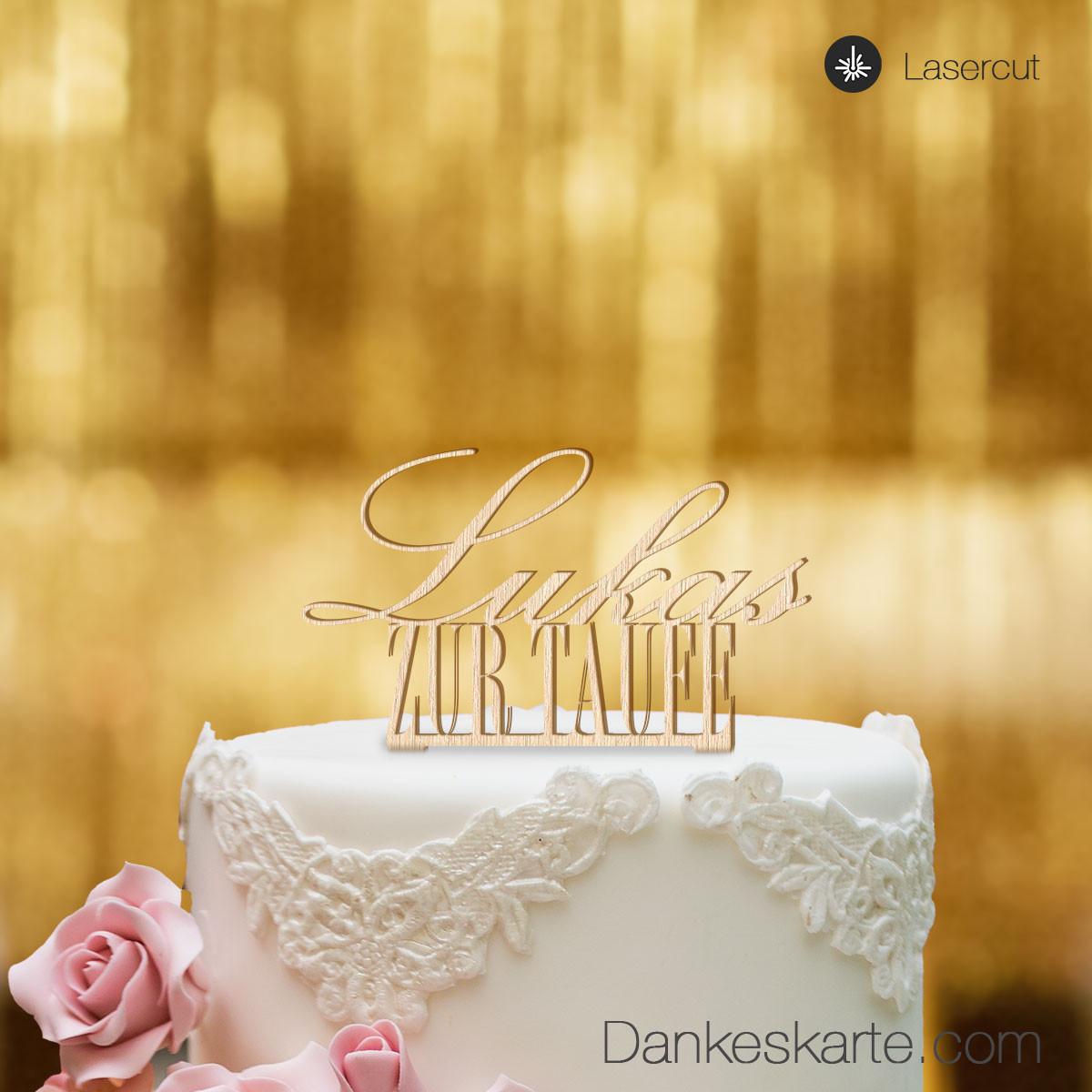 Cake Topper Zur Taufe Personalisiert Buchenholz Xl