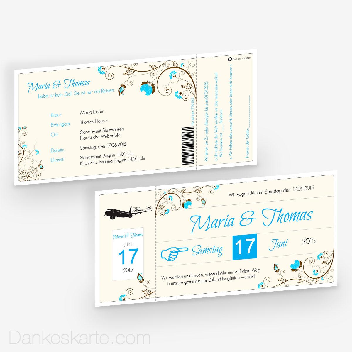 Hochzeitseinladung Flugticket 21 x 10 cm - Dankeskarte.com