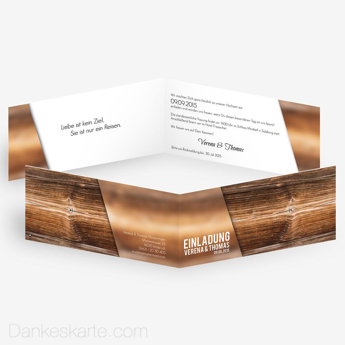 Hochzeitseinladung glas und holz 21 x 10 cm for Hochzeitseinladung holz
