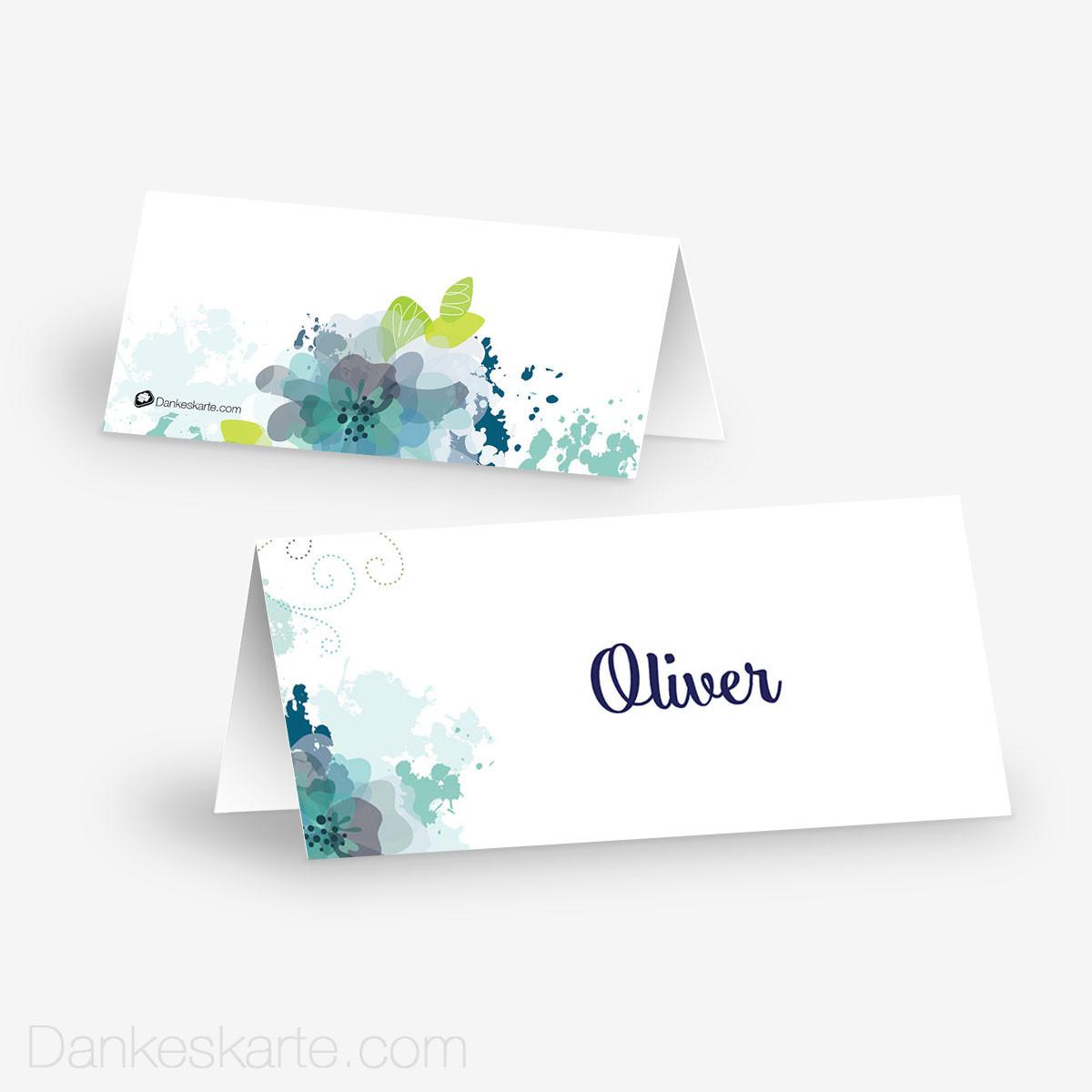 Tischkarte Aquarellblumen