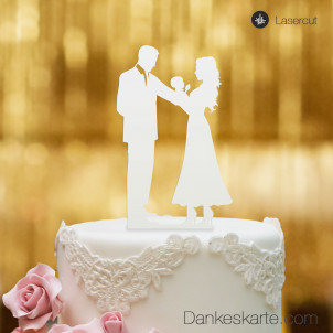 Cake Topper Brautpaar mit Baby - Weiss - XL