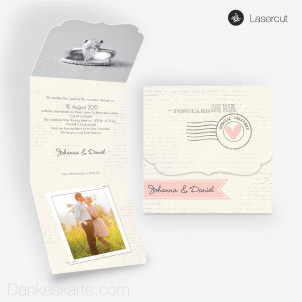 Lasercut-Einladung Ornament Air Mail 14.5x40cm
