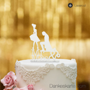 Cake Topper Mr&Mrs - Weiss - S