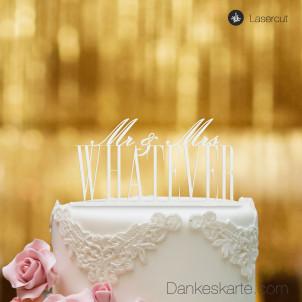 Cake Topper Mr&Mrs personalisiert - Weiss - XL