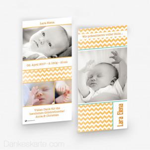 Geburtskarte Zick Zack 10 x 21 cm