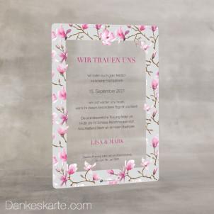 Hochzeitseinladung Acrylkarte Magnolie 14 x 20 cm