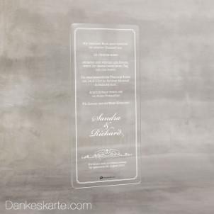 Hochzeitseinladung Acrylkarte Pure One 9 x 20 cm