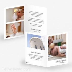 Dankeskarte Taufe Polaroid Stil 10 x 15 cm