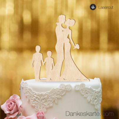 Cake Topper Brautpaar mit Kindern Jungen - Buchenholz - XL