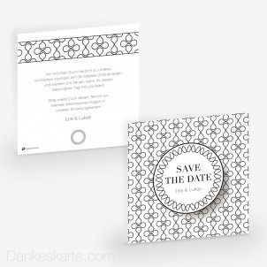 Save-the-Date Black and White 14.5 x 14.5 cm