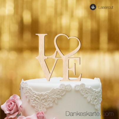 Cake Topper Love Heart - Buchenholz - XL