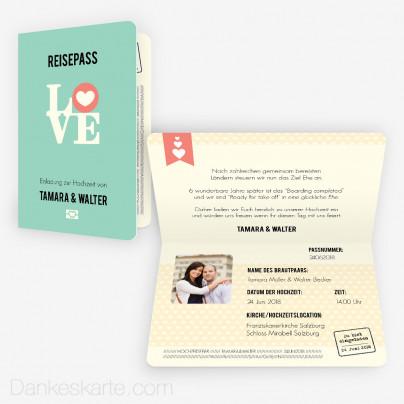 Hochzeitseinladung Reisepass 15 x 10 cm Vertikalklappkarte
