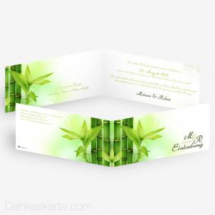 Hochzeitseinladung Bambus 21 x 10 cm